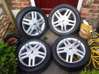 FORD FOCUS 16 INCH ZETEC ALLOYS AND TYRES 4 STUD VERY GOOD TYRES