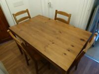 74cm x 118cm IKEA Dining table complete set - with 4 chairs