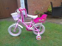 "Girls 12"" Pink Bike with Basket, Doll Carrier, Bell & Stabilisers"