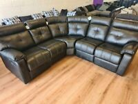 EX DISPLAY BLACK LEATHER RECLINER CORNER SOFA 5 SEATER RRP £1699!! FREE DELIVERY