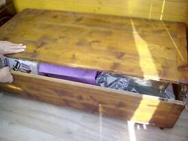Wooden trunk with lift up lid and front pull open flap