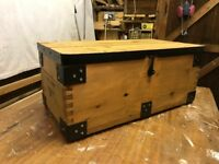 Pine Toy Box/ Pine Chest Vintage with black metal corner plates. Trunk