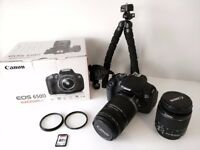Canon EOS 650D Pristine Condition with 18-55mm Lens, Telephoto 55-200 Lens, Tripod & 8GB Memory Card
