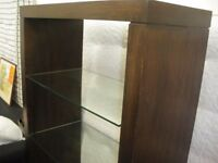 WOODEN SHELF UNIT WITH GLASS SHELVES - NEW LOWER PRICE (WAS £165)