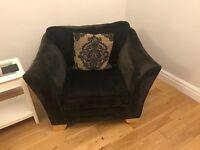 Beautiful Black Fabric Arm Chair Sofa from Furniture Village