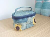 RETRO DENIM AND SUEDE TRINKET / JEWELLERY / GIFT BAG / PURSE