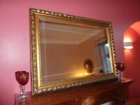 Extra Large Gold Wall Mantel Bevelled Mirror