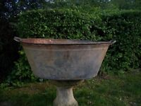 antique galvanized bath and filling pot