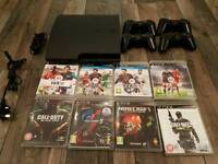 PS3 with 4 Wireless Controls 9 games