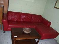 Red leather corner sofa at Cambridge Re-Use (cambridge reuse)