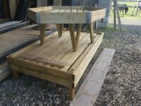 5 x timber display tables for Garden Centre and the Nursery industries £150