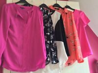 Bundle of shirts/blouses Warehouse, Oasis all fit SIZE 8