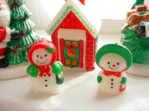 Vtg Christmas Candles 5 Piece Lot Santa Snowmen Christmasville