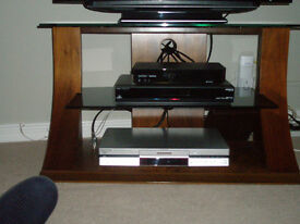 Modern TV Stand with Wooden Frame and Glass Shelves