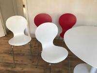 Large Round White Table with 4 Dining Chairs