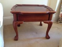 Sturdy little antique-style dark-wood side table with useful drawer
