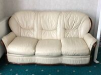 3 Seater Leather Sofa With Matching 2 x Arm Chairs Plus Separate 2 Seater