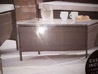 GARDEN PATIO TABLE WITH GLASS TOP. NEW