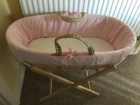 Moses basket and wooden stand