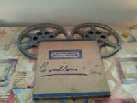 2 800ft compco chicago usa metal cinema film reel cans 16mm with box vintage antique movie