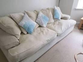Cream sofa and armchair