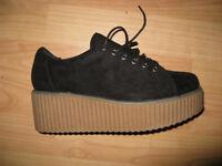 New Size 5 platform lace up shoes -black