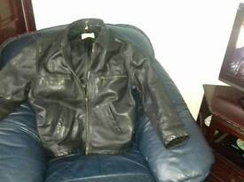 Mens black leather jacket size m