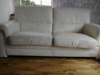 3 seater Cream leather sofa FREE