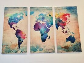 Canvas art print world map 3 large canvases (total size 130cm x 80cm)