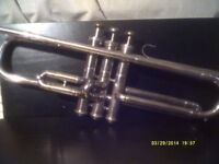 A TRUMPET , GERMAN MAKE In SILVER PLATE , IN OVERALL GOOD CONDITION +++++++