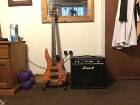 Carlo Robelli Bass Guitar and Marshall Amp