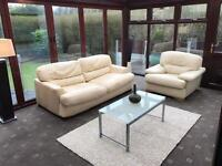 2 Seater Cream Leather Sofa Bed + Armchair Good Condition