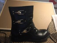 Black biker boots with gold buckles size 6