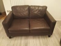 Brown Leather Two-Seater Sofa