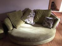 3 piece suite with cuddle couch 2 seater bed settee foot stool and single chair