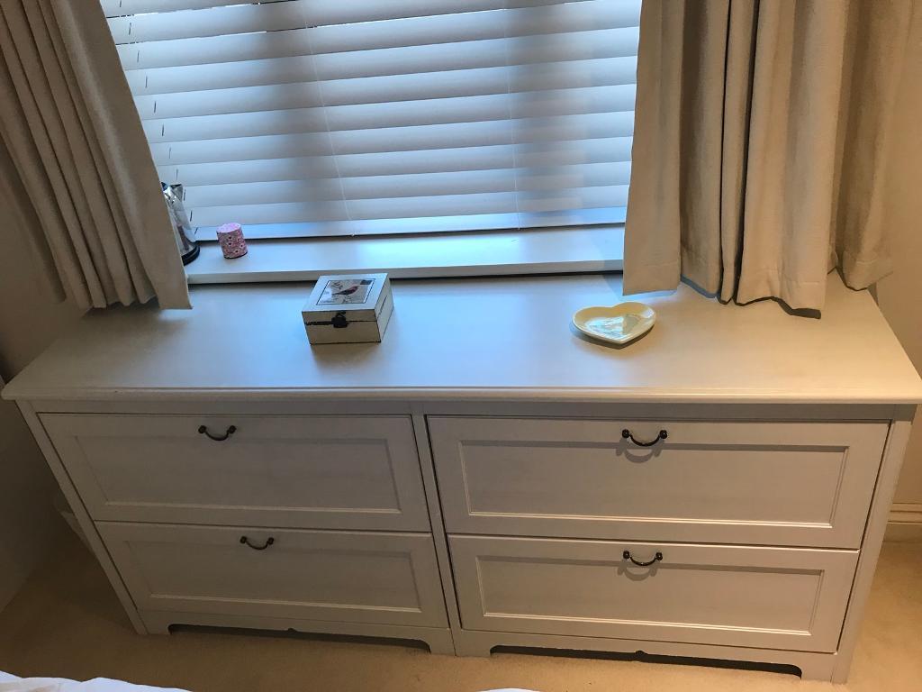Aspelund Long White 4 Drawer Dresser Ikea