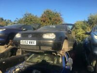 2002 VOLKSWAGEN GOLF SE (MANUAL PETROL)FOR PARTS ONLY