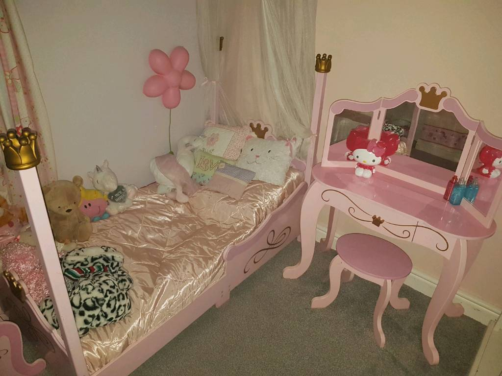Girls Princess Toddler Bed From Kidkraft With Dressing Table Stool Bedside Cabinet