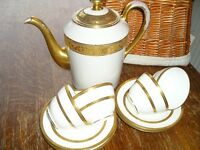 Dainty Wedgwood bone china tea cup and saucers & Limoges tea/coffee/water pot. Antique