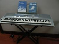 YAMAHA DGX-200 PORTABLE GRAND KEYBOARD C/W STAND, DUST COVER AND PADDED CARRY CASE