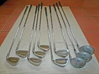 Golf equip: 2 sets clubs, various others, 2 trolleys / balls (unused). Good condition. Prices below.