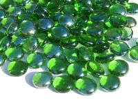 250 + Glass Pebbles / Nuggets / Stones - Green Iridised