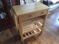 T&G Woodware Viva Kitchen Trolley In Hevea Wood