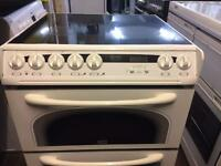 White Creda 60cm ceramic hub electric cooker grill & double fan oven good condition with guarantee