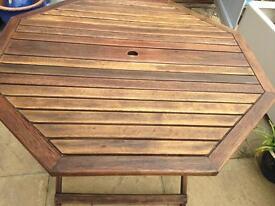 Hexagonal oak table