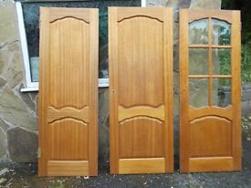 3 internal doors one with bevelled glas