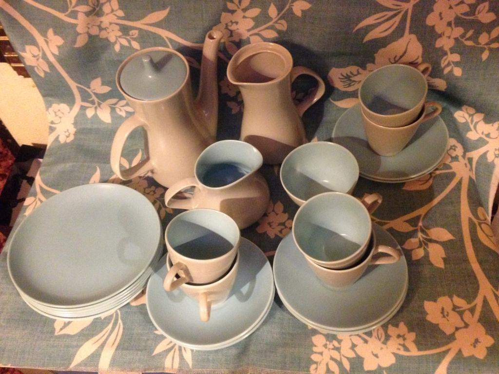 A Delightful Poole Pottery Twin Tone 1950's Coffee/Tea & Cake Set For 6