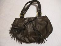 Dollargrand Brown Leather Designer Handbag