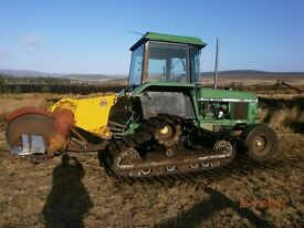 John Deere 2140 on half track c/w peat cutter
