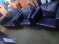 2 seater black leather sofa with 2 armchairs